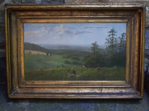 C B Hellem Hudson River landscape oil painting on canvas
