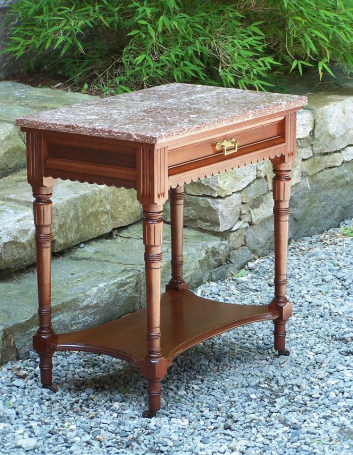 Marble top cherry Victorian bedside table c1875