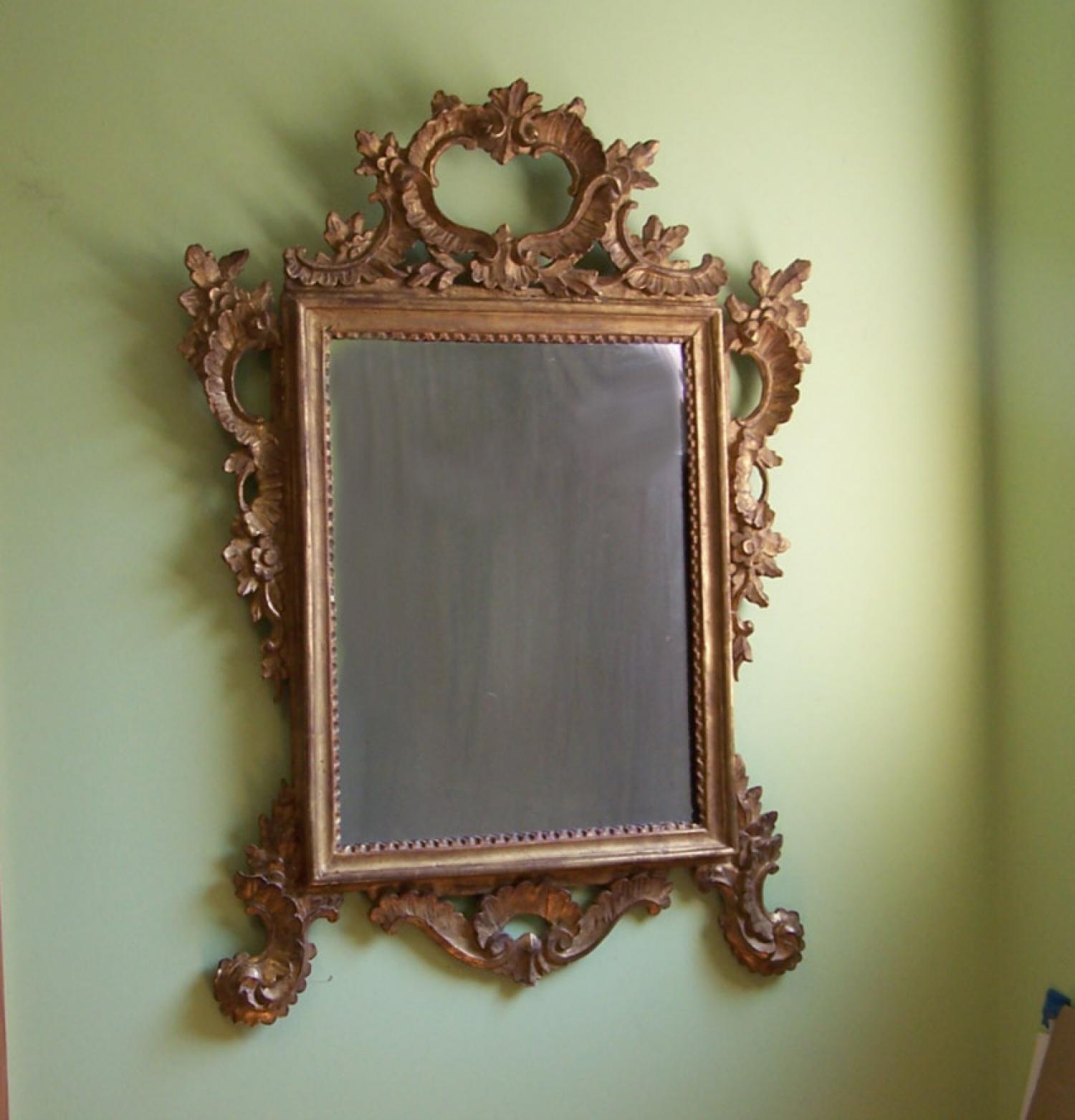 Continental gold leaf wall mirror c1800