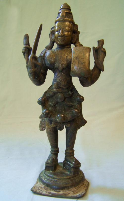Early Bronze sculpture of a Temple God India 16th to 17th century