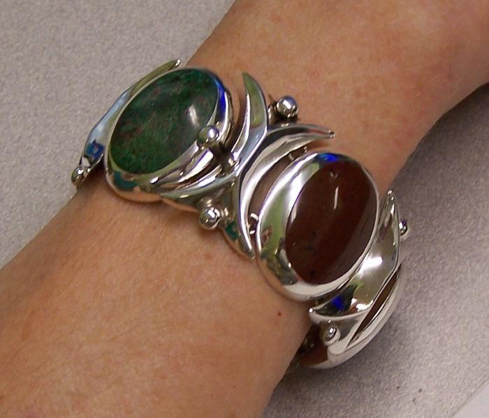 Vintage Felipe Martinez Taxco sterling silver five stone bracelet c1950