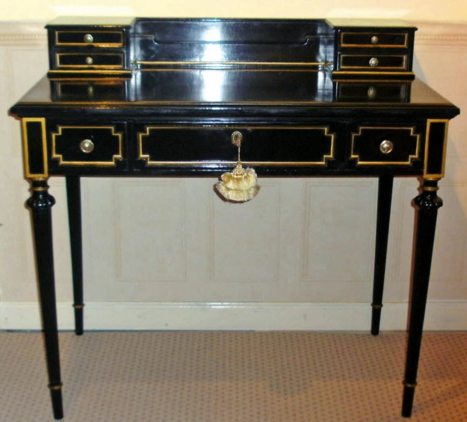 Napoleon III black lacquered ladies writing desk with gilt c1870