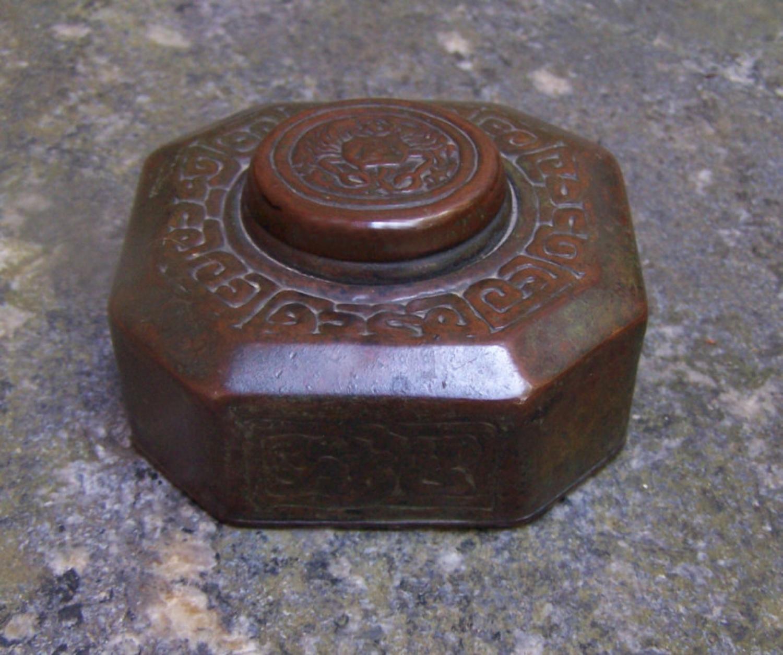 Tiffany Studios bronze Zodiac inkwell c1905