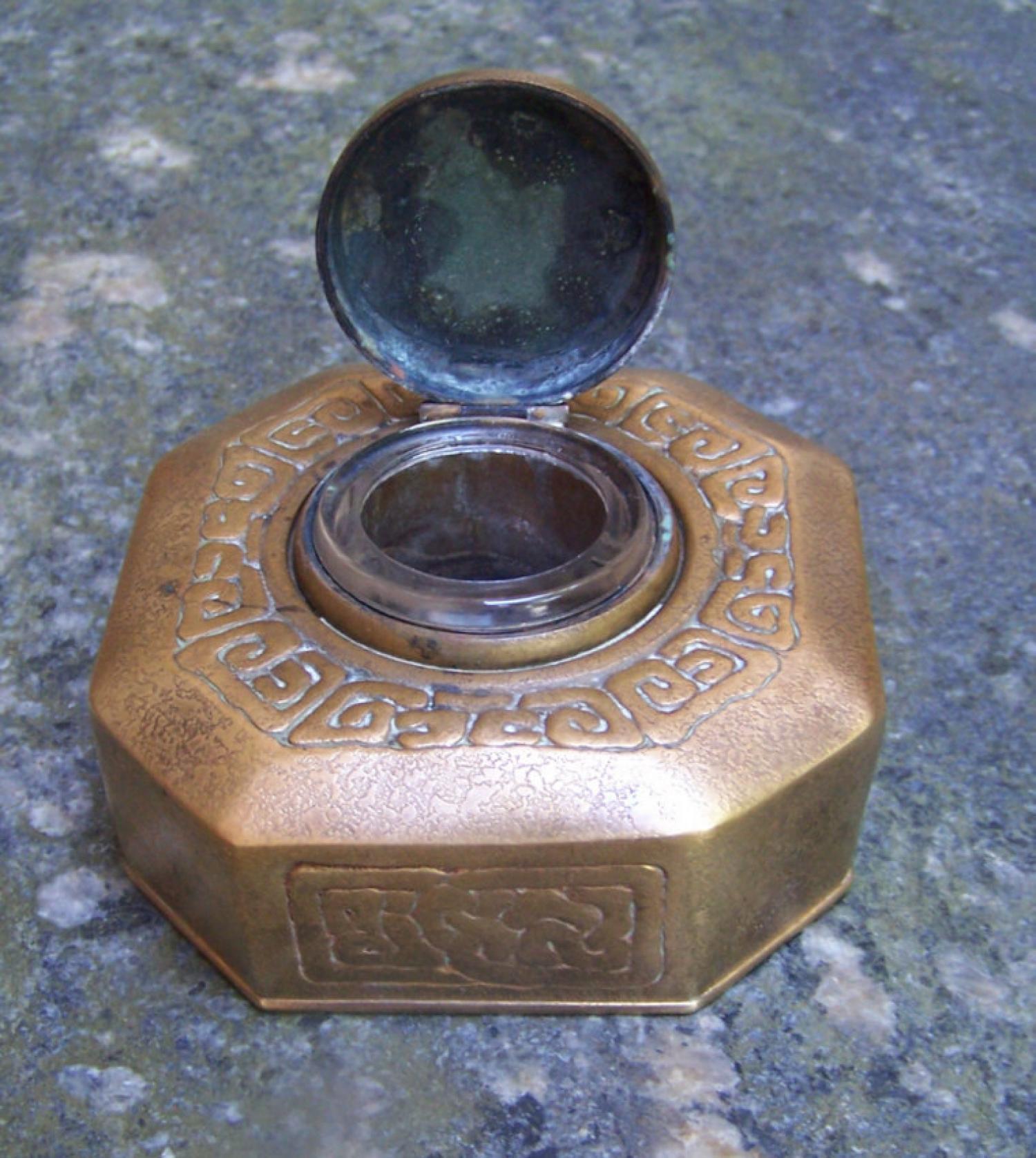 Tiffany Studios bronze dore Zodiac inkwell c1905