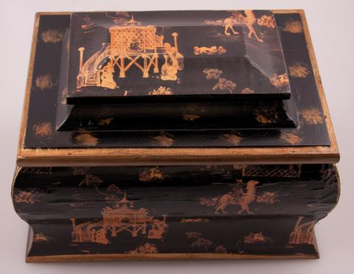 Italian Lacca Pouvre black lacquered hinged wooden valuables box