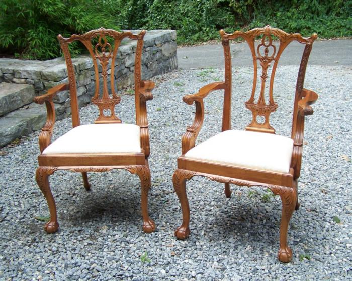 Pair vintage Chippendale style arm chairs
