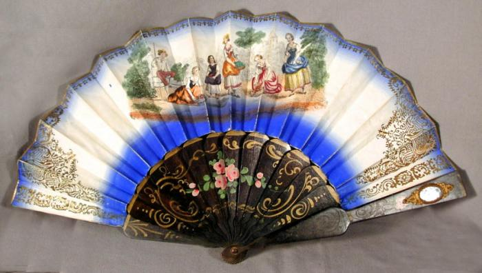French hand painted paper fan depicting six courtesans