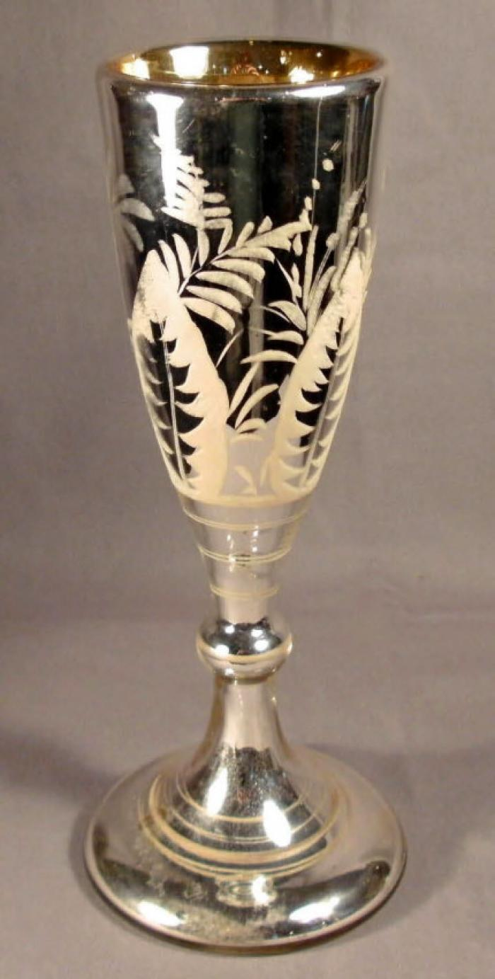 Mercury glass footed chalice or tall goblet c1880