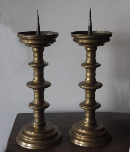 Pair of Flemish Renaissance brass pricket candlesticks c1700