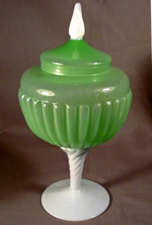 French green opaline glass covered compote c1900