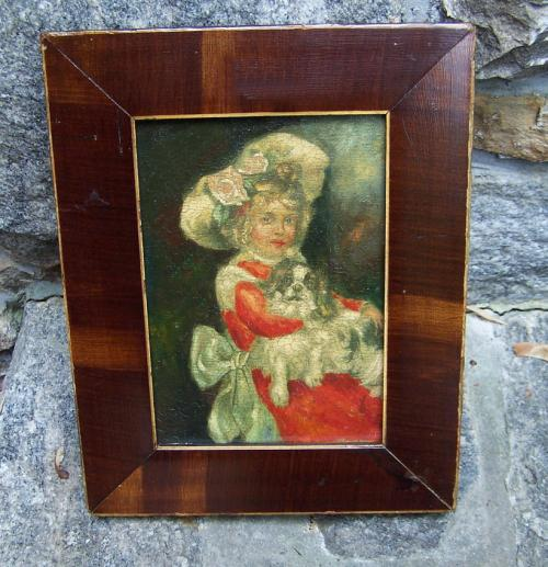 Vintage King Charles Spaniel portrait young girl