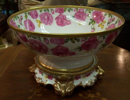 Tressemann and Vogt limoges hand painted punch bowl c1910