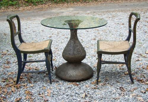Pierced carved brass pedestal breakfast table India 1860
