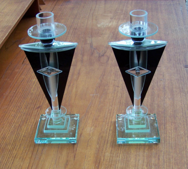 pair art deco glass candlesticks. Black Bedroom Furniture Sets. Home Design Ideas