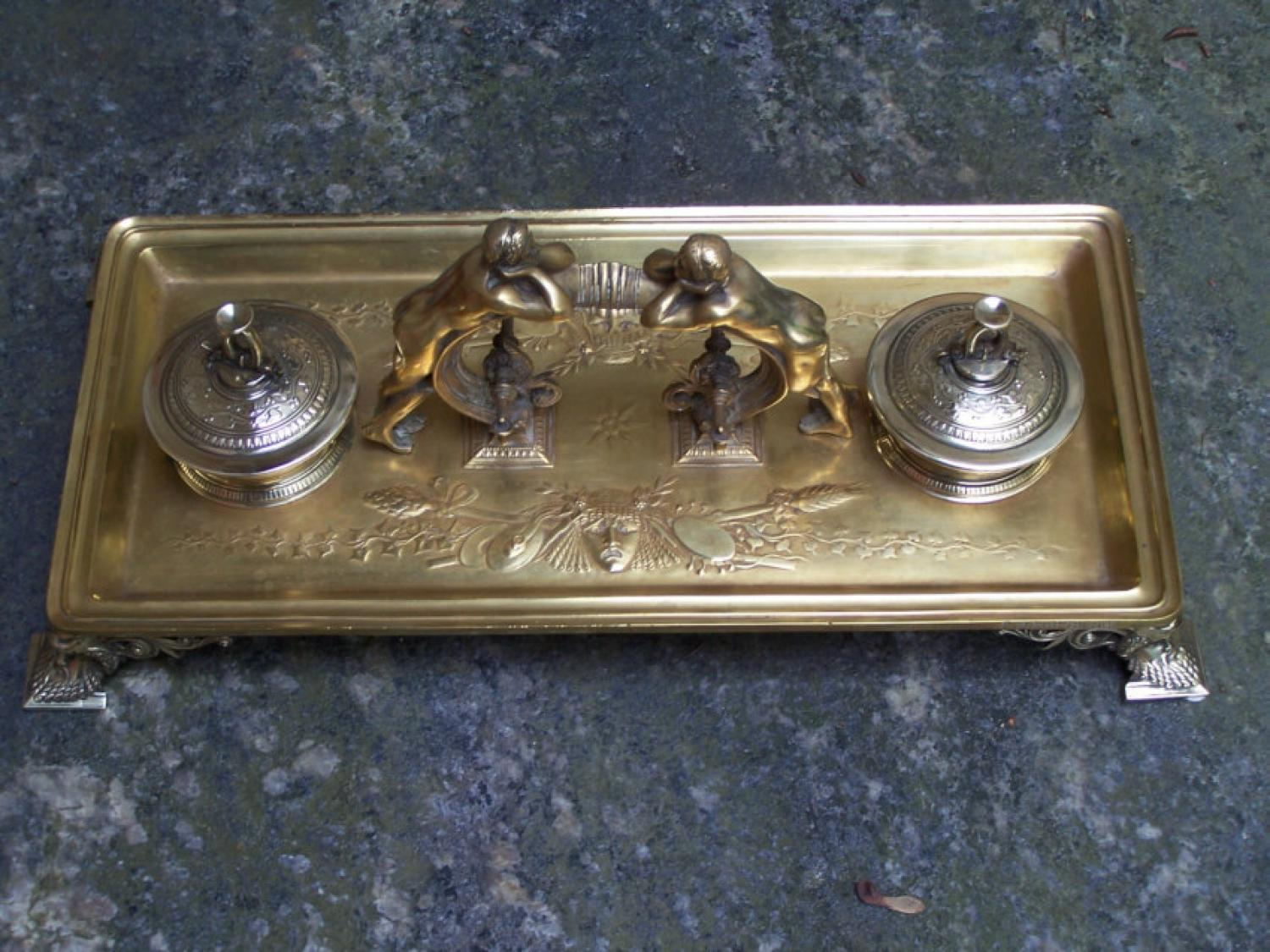 F Barbedienne bronze desk top double inkwell c1880