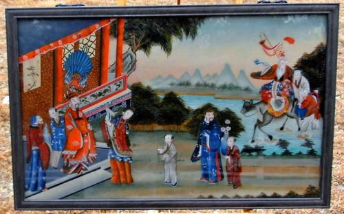 China Trade reverse painting on glass in original rosewood frame c1890