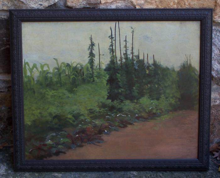 Fannie Burr American impressionist garden landscape oil painting c1890