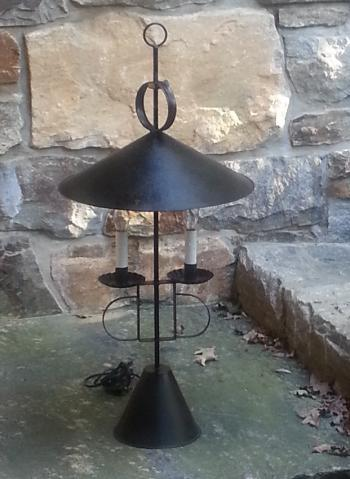 Image of Vintage double tin adjustable candle stick lamp with shade c1950