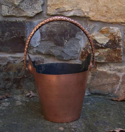 Vintage Italian hand hammered copper ice bucket c1950