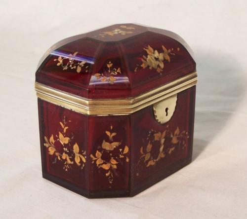 18thc French cranberry glass jewel casket