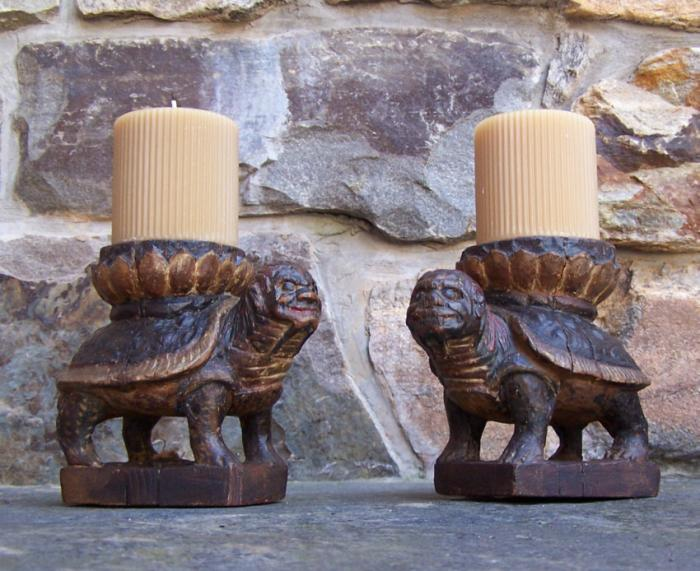 Early Korean carved wood tortoise stands