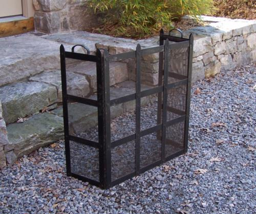Vintage hand made wrought iron fireplace screen