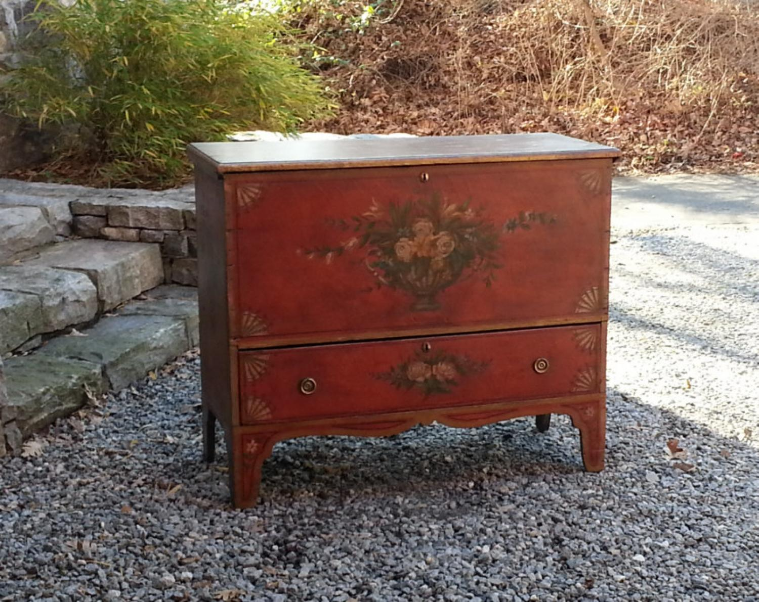 Early American lift top pine blanket chest in old red paint c1820