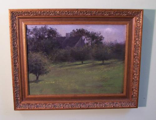 Fannie Burr landscape oil painting of an early house c1896