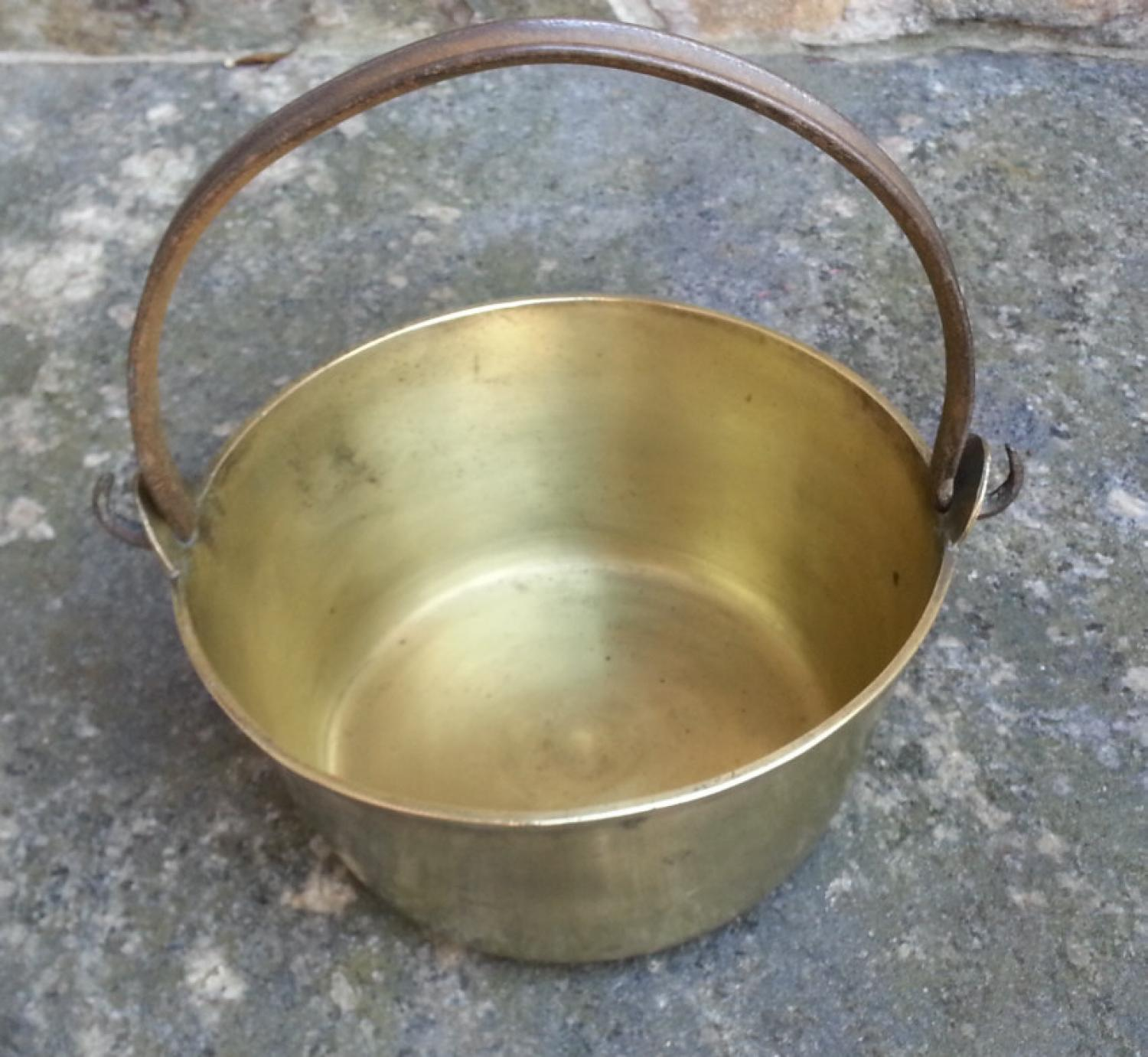 Early American solid brass swing handle cooking pail c1800