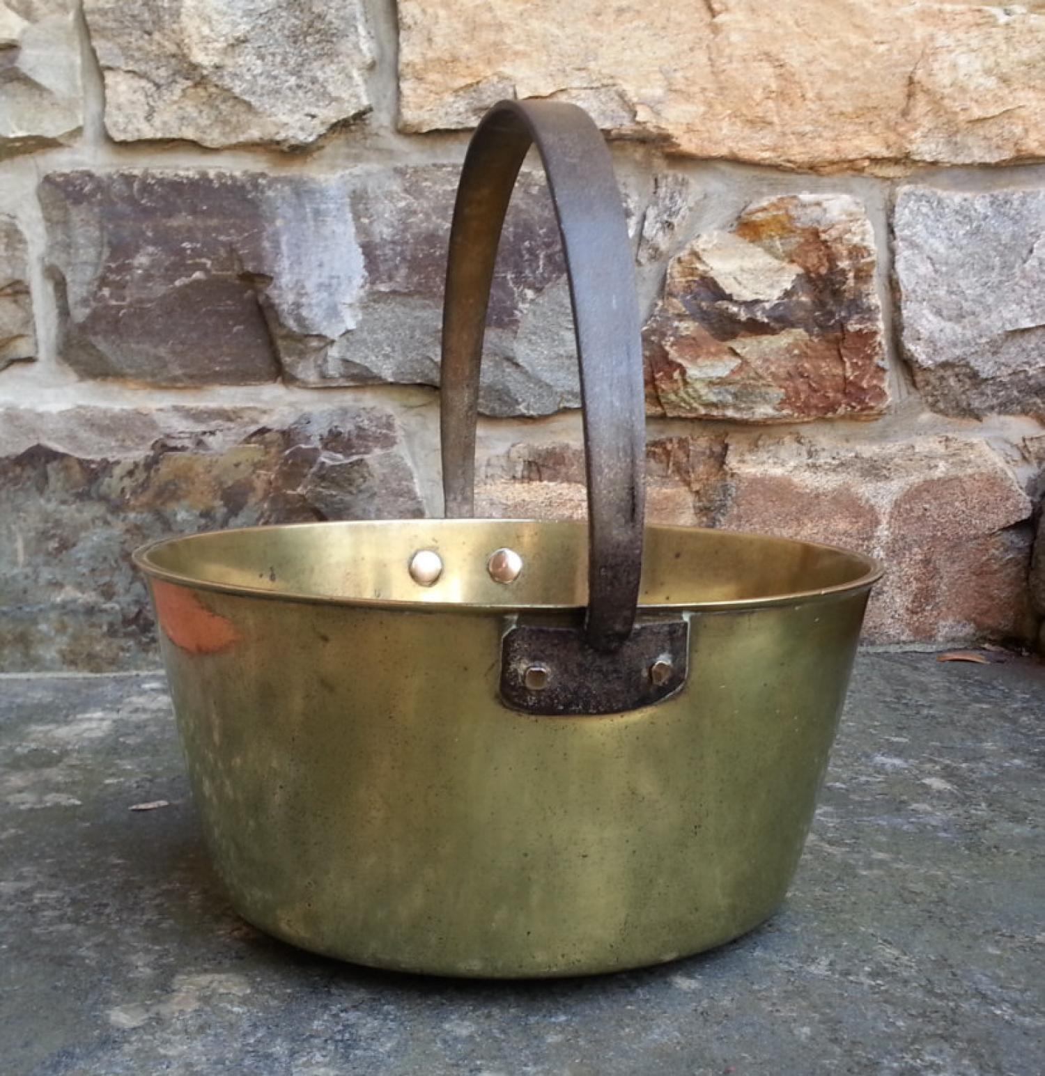 Heavy brass bucket or pail c1800