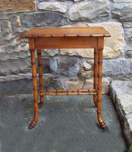 Faux bamboo Victorian table with birdseye maple top c1880