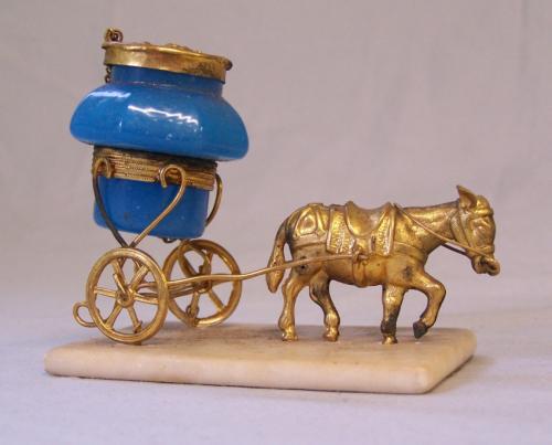 Antique French blue opaline donkey perfume bottle
