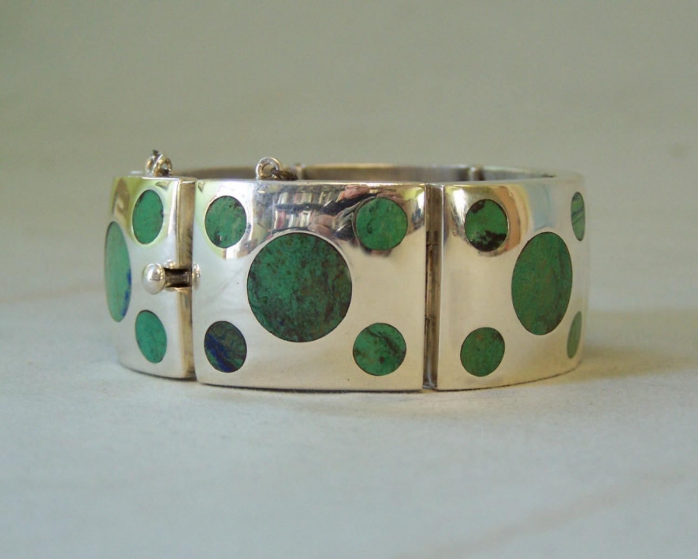 Vintage Felipe Martinez Taxco turquoise and silver bracelet c1950