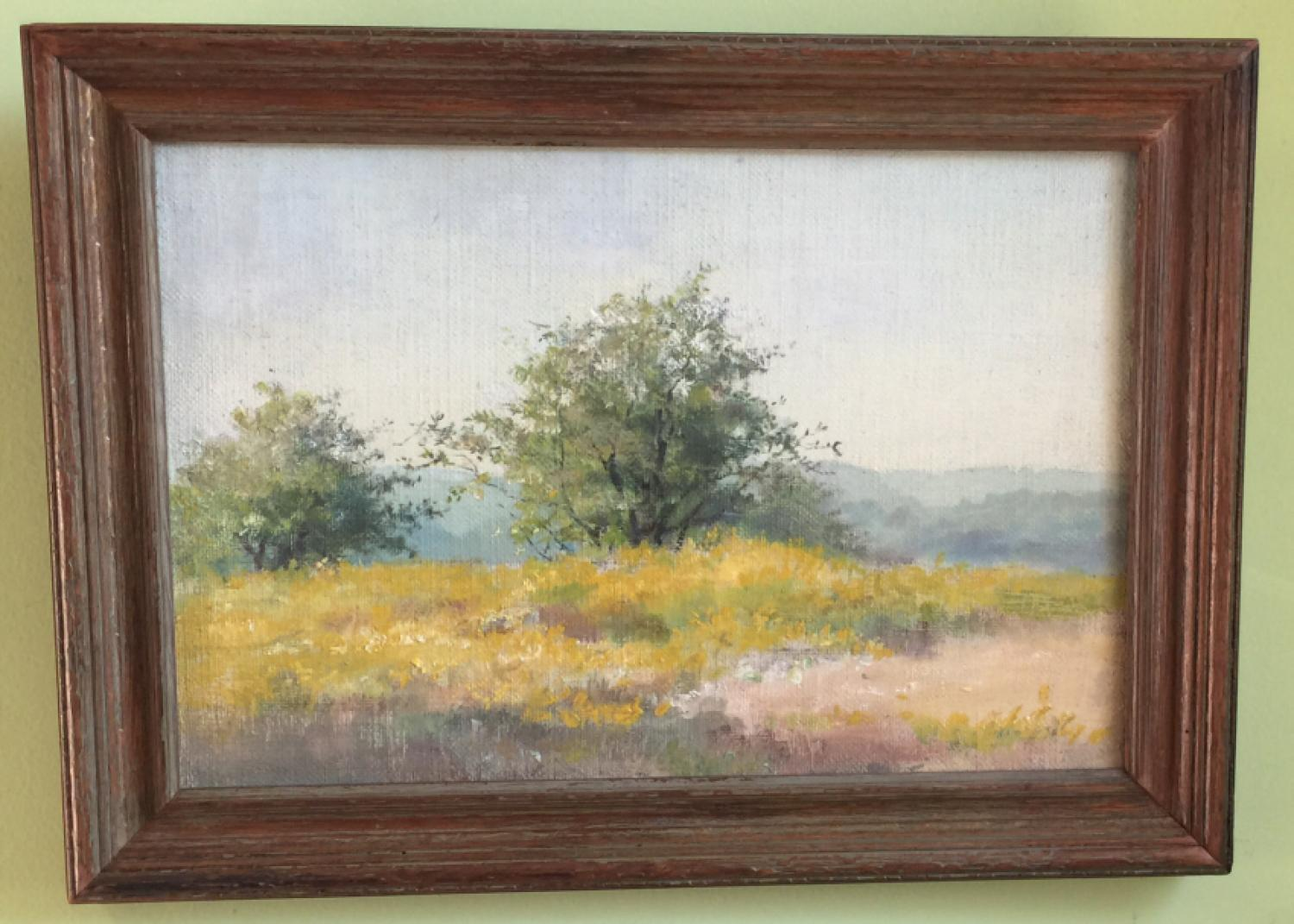 Fannie Burr impressionist landscape oil painting trees in field