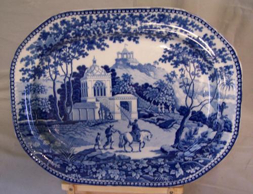 John Rogers and Sons Musketeer blue white platter c1825
