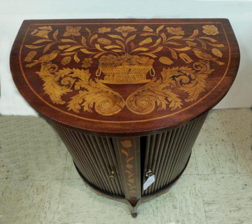 18thc Dutch marquetry tambour stand with two doors