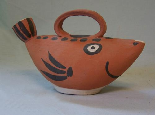 Pablo Picasso Madoura Pottery clay fish sculpture pitcher c1965
