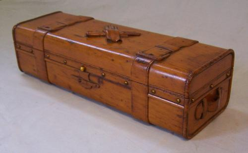 Victorian hand carved satinwood glove box c1850