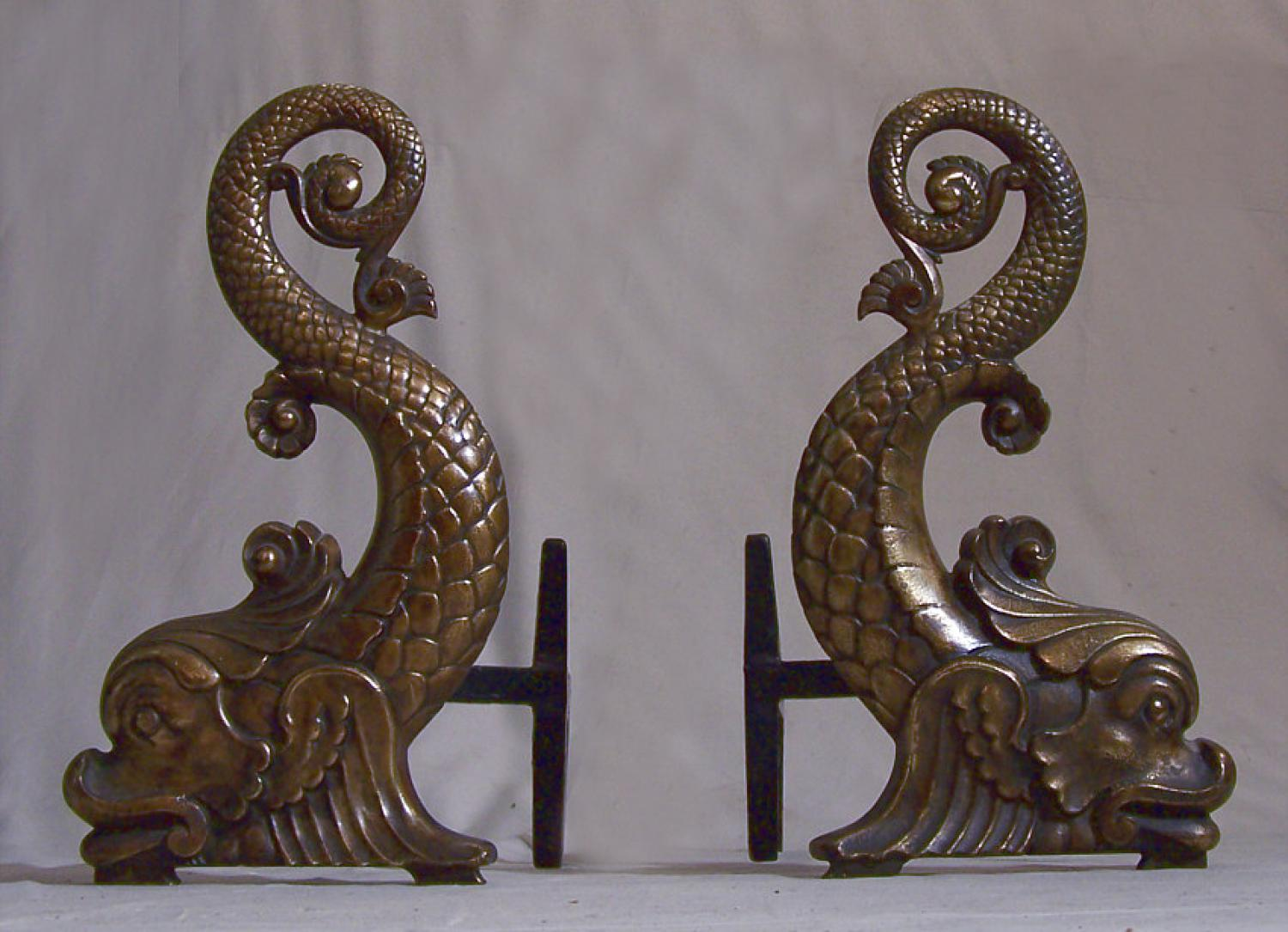 Bradley and Hubbard Bronzed cast iron Dolphin andirons c1880