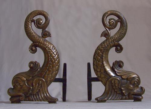 Bradley and Hubbard Bronzed cast iron Dolphin andirons c1880
