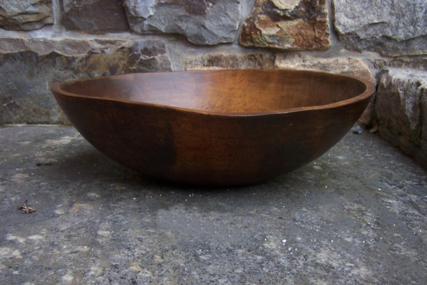Large early American country kitchen pine bowl c1800