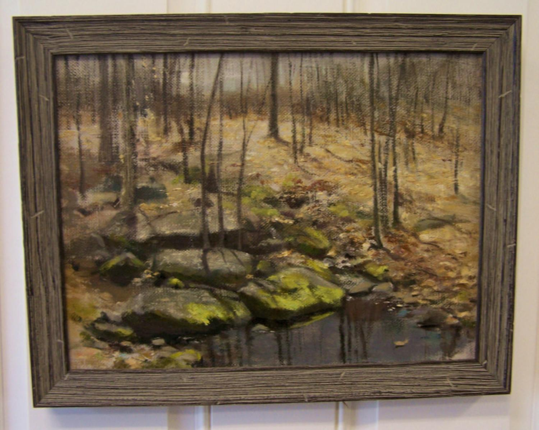 Fannie C Burr oil painting of trees alongside a brook c1880