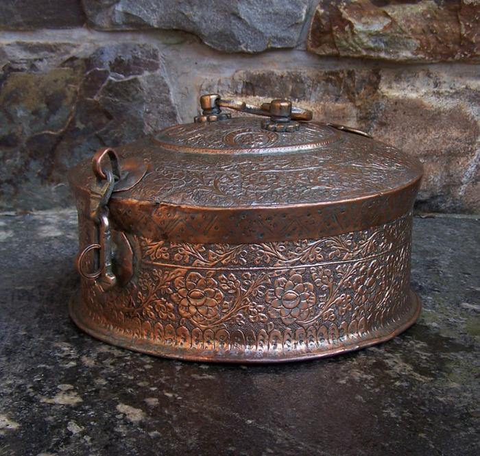 18th c Indian tinned copper pandan box
