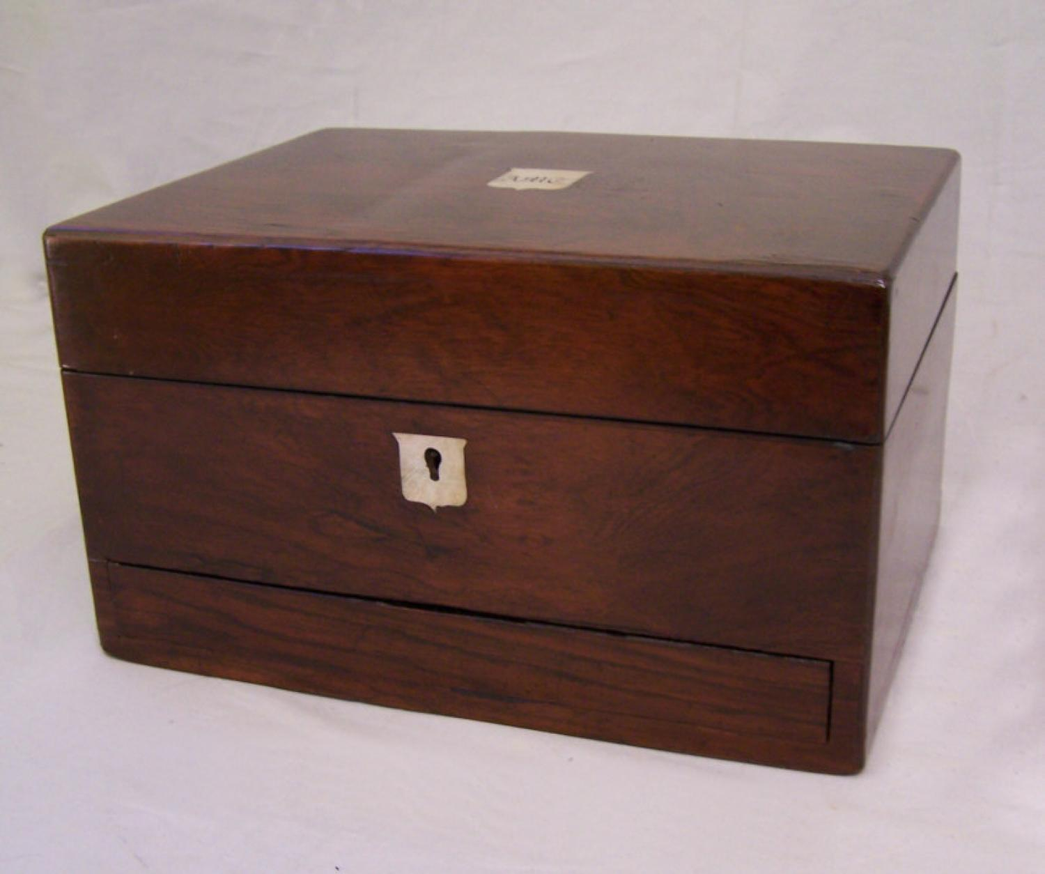 American Victorian rosewood writing box with secret compartment c1860