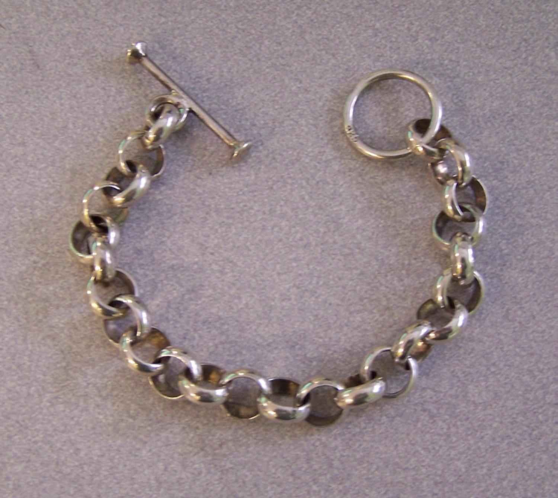 Vintage sterling silver watch fob bracelet