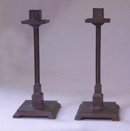 Arts and Crafts 1928 pewter candlesticks after Frank Lloyd Wright