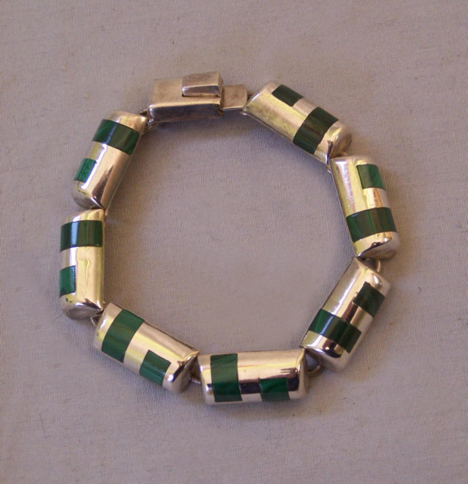 Taxco Mexico 950 silver malachite bracelet c1980
