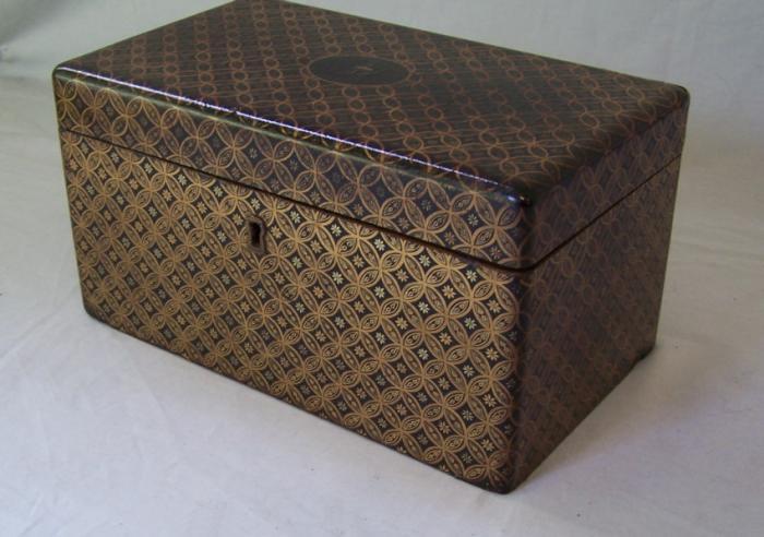 Early ship captains enameled wood tea box c1820