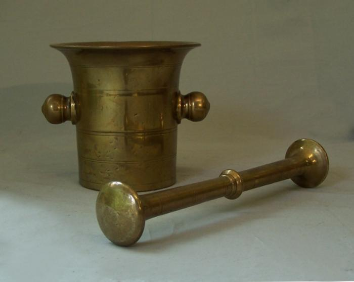 English 19thc bell metal brass apothecary mortar and pestle