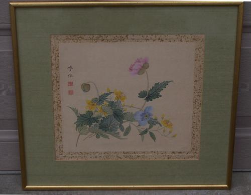 Edo landscape watercolor of flowers by Ohba Gakusen c1860